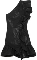 Isabel Marant Lavern One-shoulder Ruffled Coated Cotton-blend Mini Dress - Black
