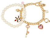 Betsey Johnson Key Multi Charm and Pearl Bracelet Set in Gift Box