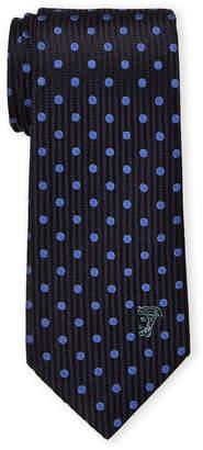 Versace Blue Silk Polka Dot Contrast Pattern Tie