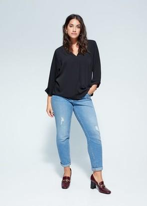 MANGO Violeta BY V-neck blouse black - 12 - Plus sizes