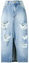 Amapô - distressed midi denim skirt - women - Cotton - 34