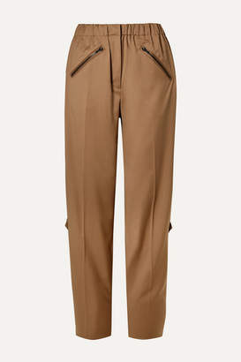 Preen by Thornton Bregazzi Celestine Zip-embellished Wool-twill Straight-leg Pants - Camel