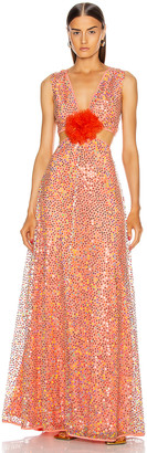 MARKARIAN Iridescent Sequin Cut Out Gown in Coral | FWRD