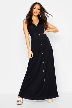 boohoo Ribbed Button Front Maxi Dress