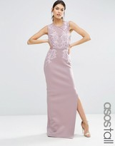 ASOS Tall ASOS TALL RED CARPET Lace Placed Sweetheart Maxi Dress