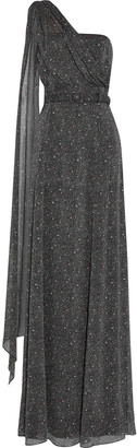 Mikael Aghal One-shoulder Draped Printed Georgette Gown
