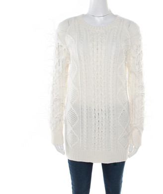 Valentino Ivory Chunky Knit Wool Ostrich Feathered Full Sleeve Pullover S