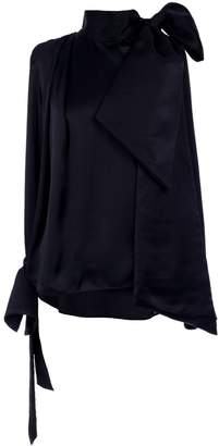 Adelina Rusu Black Hammered Silk Satin Blouse
