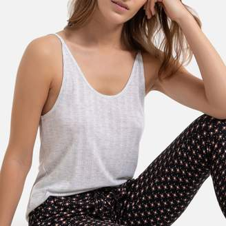 La Redoute Collections Pyjamas with Plain Vest Top and Printed Bottoms