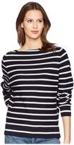 Vince Striped Waffle Raglan Women's Long Sleeve Pullover