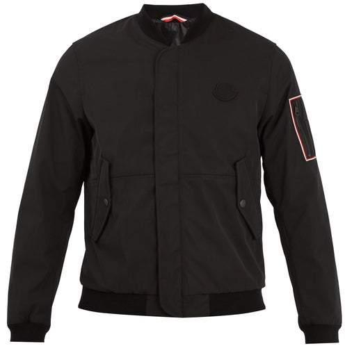 Moncler Jerry Logo Applique Gabardine Bomber Jacket - Mens - Black