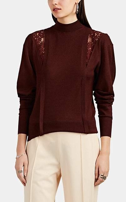 Chloé Women's Lace-Inset Wool-Silk Mock-Turtleneck Sweater - Wine