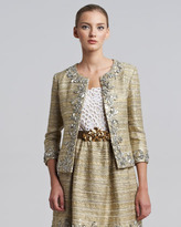 Oscar de la Renta Metallic Tweed Embellished Jacket