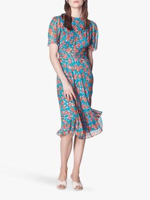 LK Bennett Eve Tie Waist Spot Dress, Multi