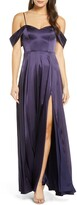 Sequin Hearts Cold Shoulder Satin Evening Gown