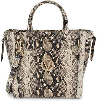 Mario Valentino Valentino By Charmont Snakeskin-Embossed Leather Tote