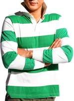 Godsen Men's Long Sleeve Sports Rugby Polo Shirt Sewn Striped T-Shirt (S, )