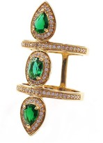 Savvy Cie Double Banded Simulated Diamond Pave & Created Emerald Ring