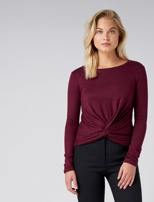 Forever New Tina Twist front cut and sew - Red Shiraz - l