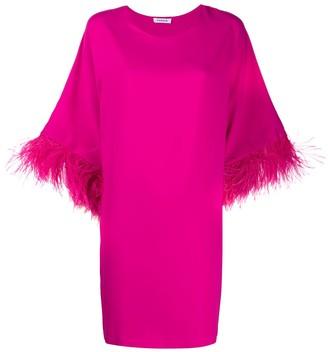 P.A.R.O.S.H. Feather Trim Mini Dress
