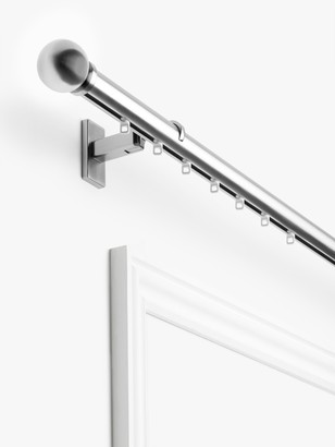John Lewis & Partners Made to Measure Hand Drawn Revolution Bay Bend Curtain Track with Gliders and Ball Finials, Wall / Ceiling Fix, Dia.30mm