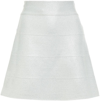Herve Leger Metallic Bandage Mini Skirt