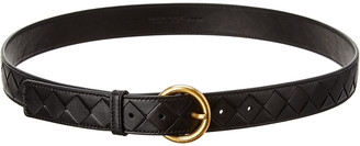Bottega Veneta Circular Buckle Intrecciato Leather Belt, Size 95