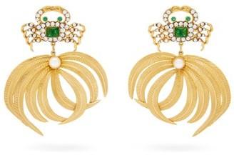 BEGÜM KHAN Crab Opium 24kt Gold-plated Clip Earrings - Green Gold