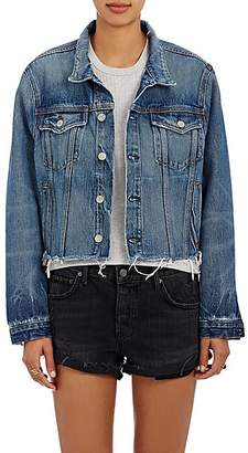 GRLFRND Women's Cara Crop Denim Trucker Jacket - Md. Blue