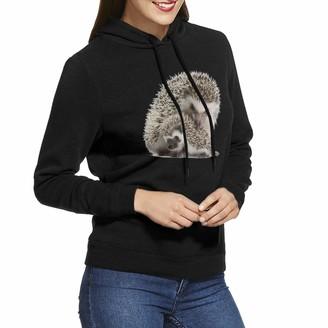 Sydiyiwl Hedgehog Women's Hoodies Pullover Sweatshirt Long Sleeve for Ladies Teens M Black