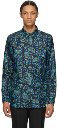 Givenchy Black and Blue Silk Floral Shirt