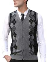 Zicac Mens Casual Slim Fit Argyle Sweater Knitwear Vest Sleeveless Sweater Button
