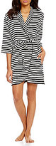 Kate Spade My Cherie Amour Striped French Terry Wrap Robe