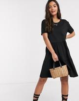 New Look smock short sleeve mini dress in black