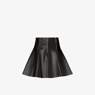 Versace Zipped Pleated Leather Mini Skirt