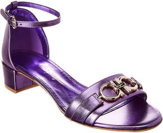 Salvatore Ferragamo Como Metallic Leather Sandal