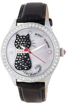 Betsey Johnson Women's Cat Crystal Embossed Leather Watch, 42mm