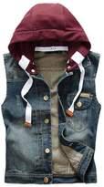 Kule Men's Boy Casual Denim Washed Vest Jacket with Hoodie805