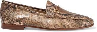 Sam Edelman Loraine Embellished Metallic Snake-effect Leather Loafers