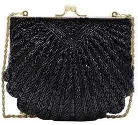 La Regale Beaded Crossbody Shell Clutch