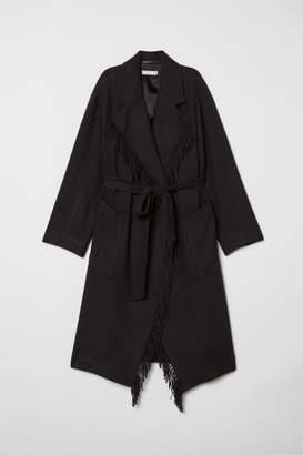 H&M Coat with Tie Belt - Black
