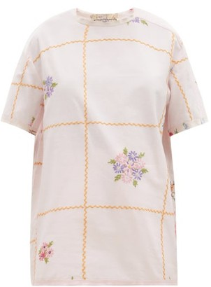 By Walid Tatum Checked Floral-embroidered Linen T-shirt - Light Pink