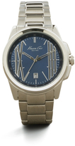 Kenneth Cole Silvertone With Blue Accent Link Watch