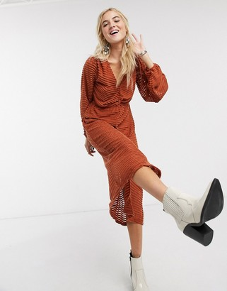 Asos DESIGN burnout stripe midi dress in rust