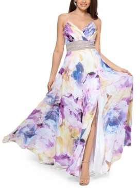 Xscape Evenings Floral-Print Embellished-Waist Gown