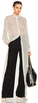 Lanvin Long Sleeve Maxi Dress in White,Stripes.