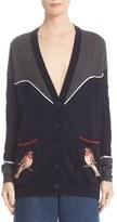 Stella McCartney Nashville Appliqué & Piped Detail Colorblock Wool Cardigan
