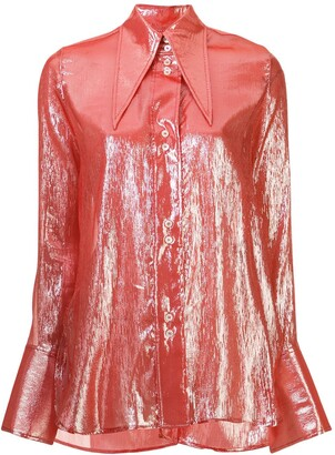 Ellery Metallized Pointed-Collar Shirt