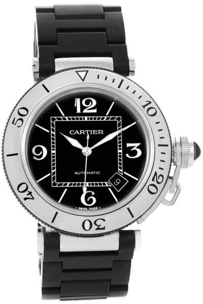 Cartier Pasha Seatimer W31077U2 Stainless Steel & Rubber Strap 40.5mm Mens Watch