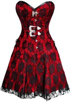 CorsetDeal Fully Spiral Steel Boned Satin Gothic Overbust Long Corset Dress-32